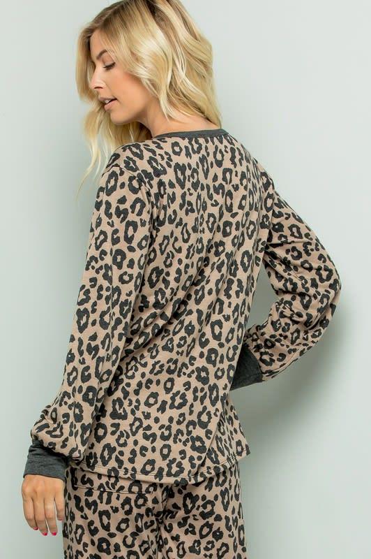 Leopard Weekend Top - Mocha - Back