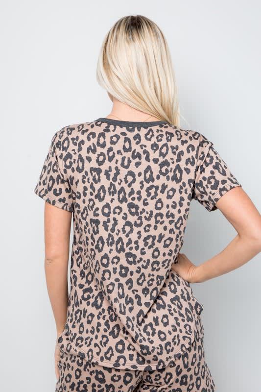 Leopard Print Button Detail Top - Mocha - Back