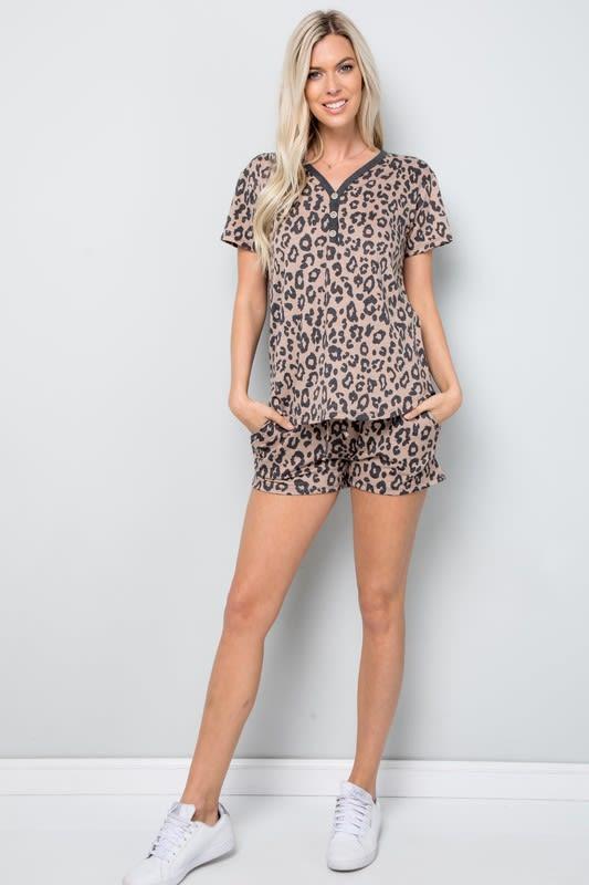 Leopard Print Button Detail Top - Mocha - Front