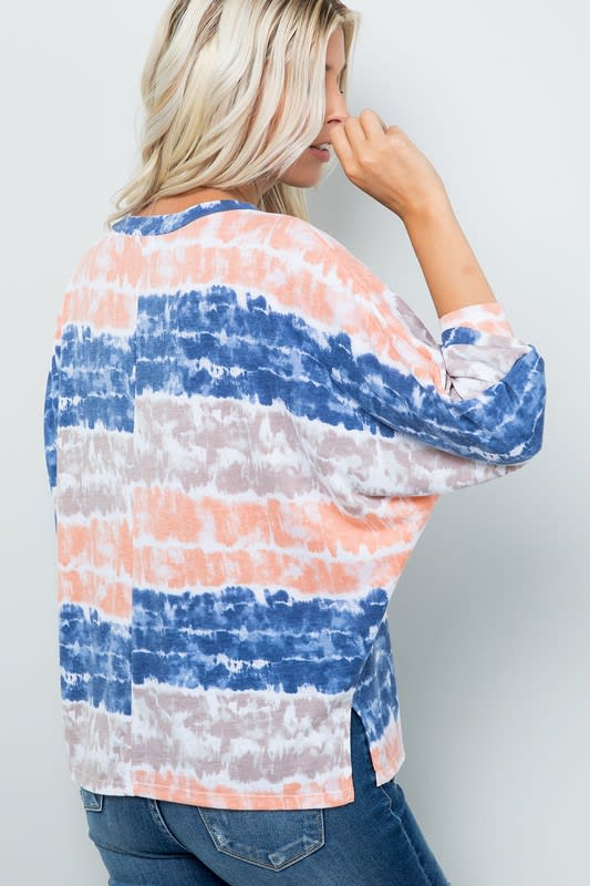 Vibrant Light-Colored Tie Dye Top - Ink blue - Back