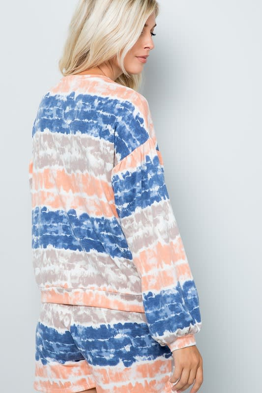 Tie Dye Pullover Top - Ink blue - Back