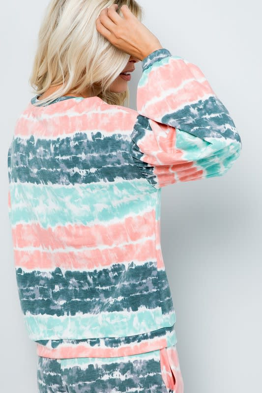 Tie Dye Pullover Top - Mint - Back