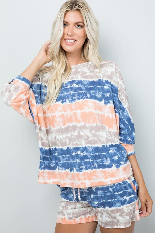 Tie Dye Pullover Top - Ink blue - Detail