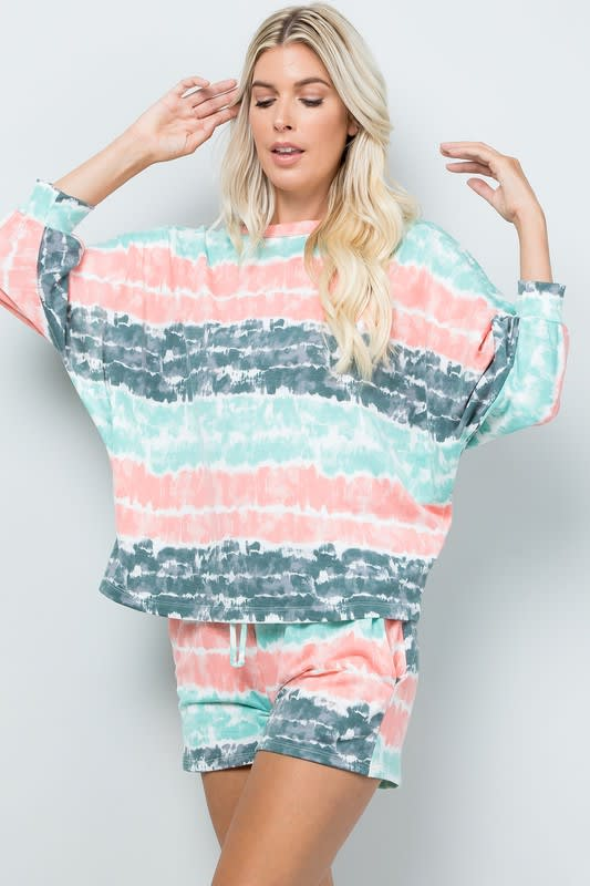 Tie Dye Pullover Top - Mint - Detail