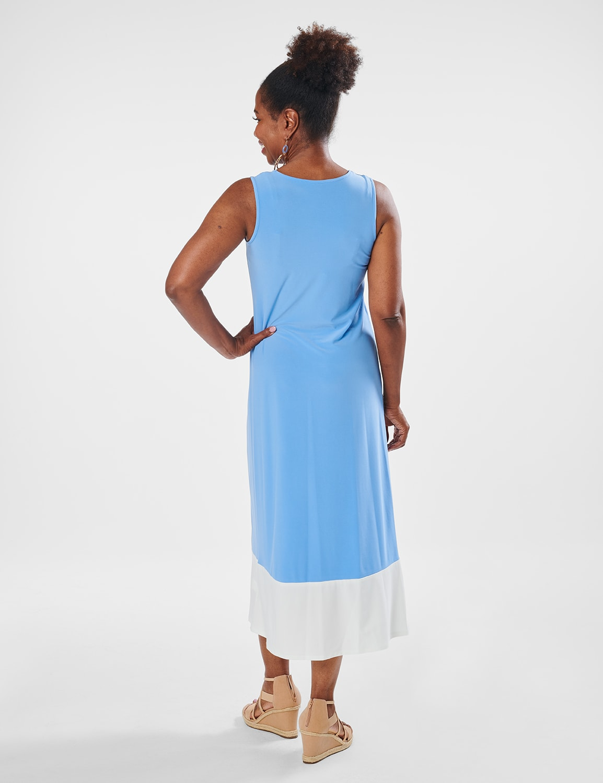 Color Block Maxi Dress - Chambray - Back