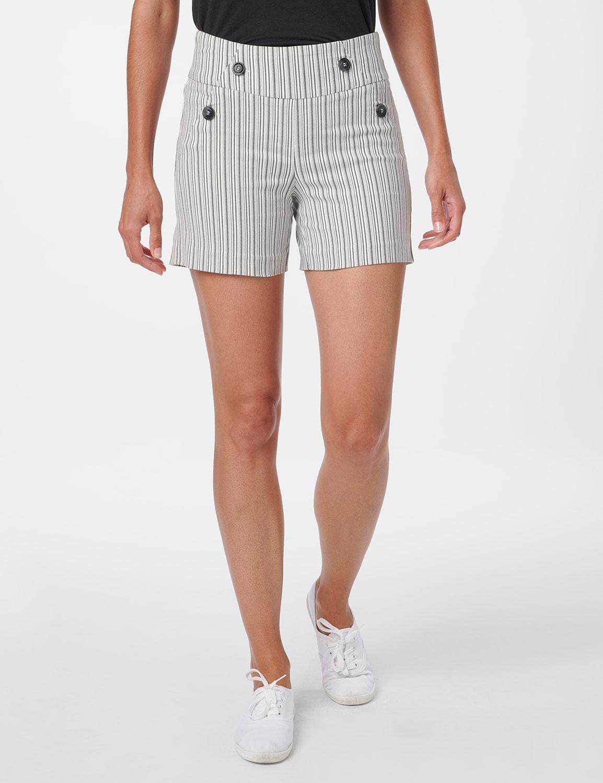 Sailor Short with Button Detail - Black/White - Front