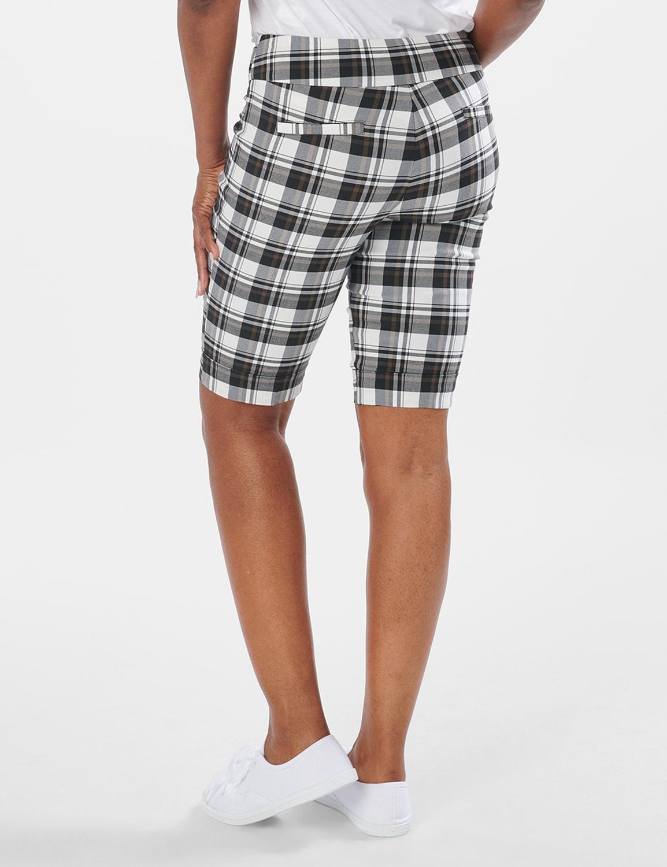Cuffed Bermuda Short with Tab Waist Detail - White/Black/Brown - Back