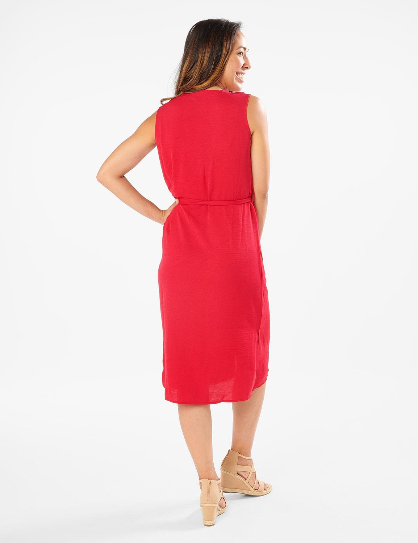 Button Front  Dress - crimson - Back