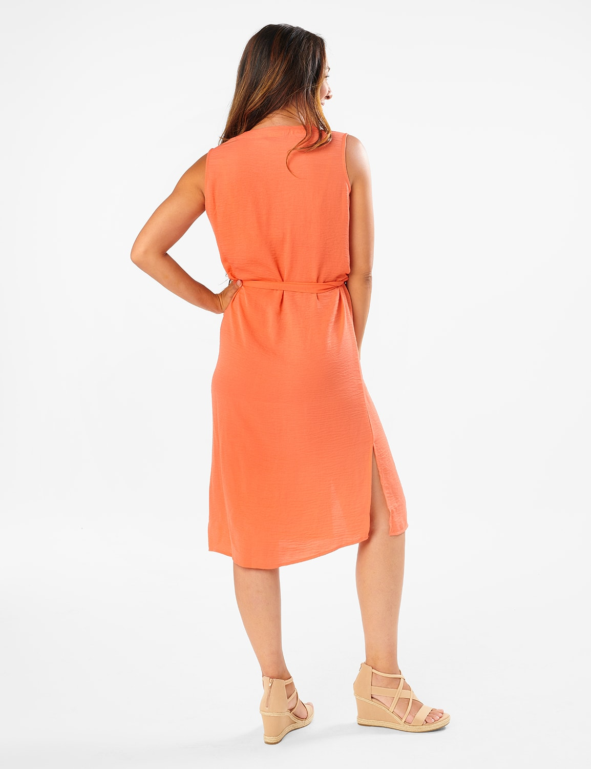 Button Front  Dress - Ember Glow - Back