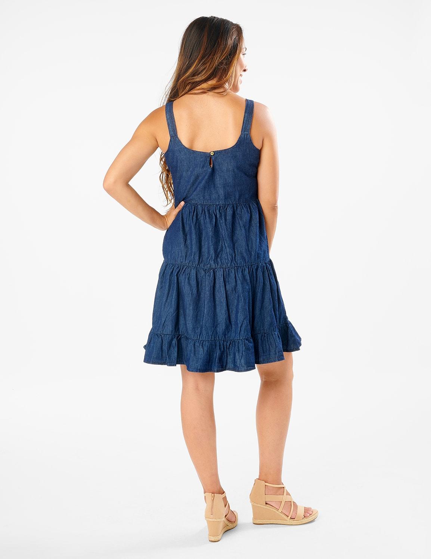 Denim Tiered Tank Dress - Dark Wash - Back