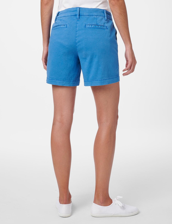 Fly Front Slant Pocket Shorts - Ocean Blue - Back
