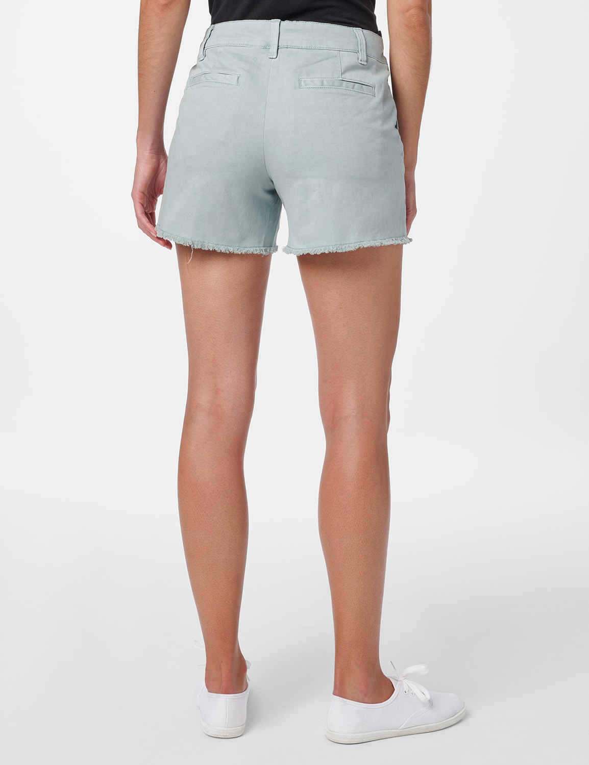 Fly Front Slash Pocket Short with Fray Hem - Aqua Mint - Back