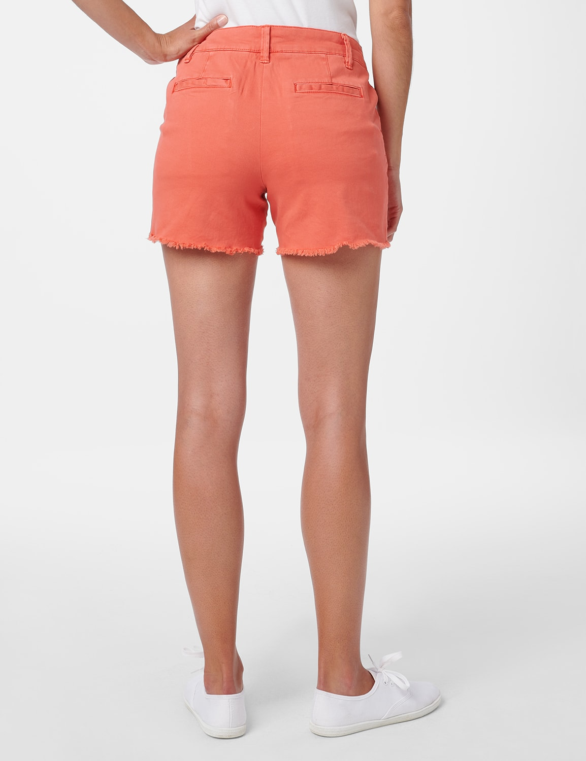Fly Front Slash Pocket Short with Fray Hem - Watermelon - Back