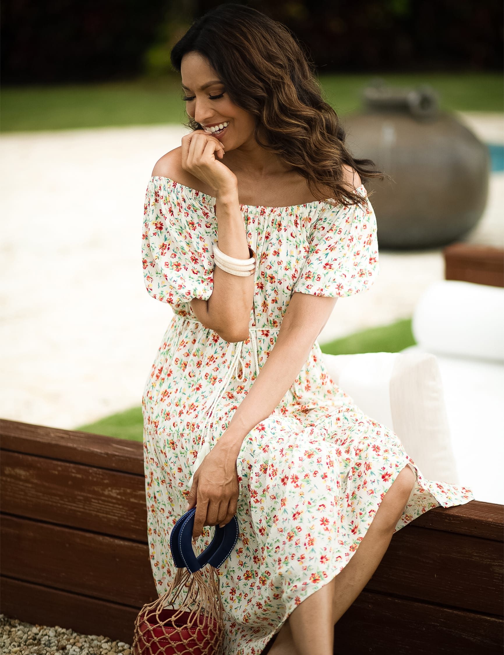 Ditsy Floral Dress - Ivory - Front