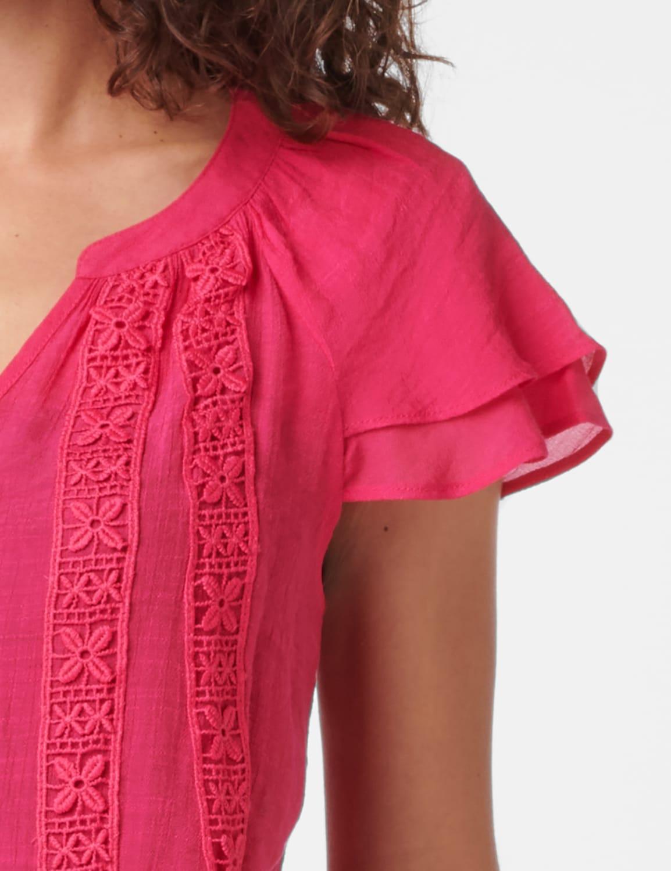 Crochet Trim Flutter Sleeve Textured Woven Top - Fuschia - Detail