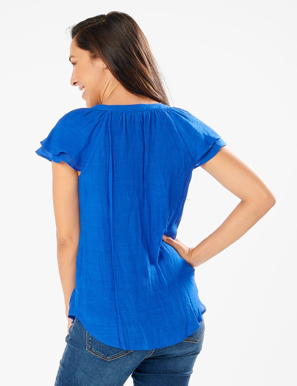 Crochet Trim Flutter Sleeve Textured Woven Top - Surf The Web - Back