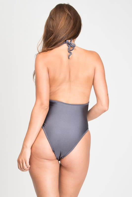 One Piece Halter Top Corset Tie Swimsuit - Grey - Back