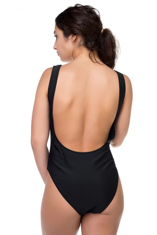 One Piece Sexy Print Swimsuit - Black - Back