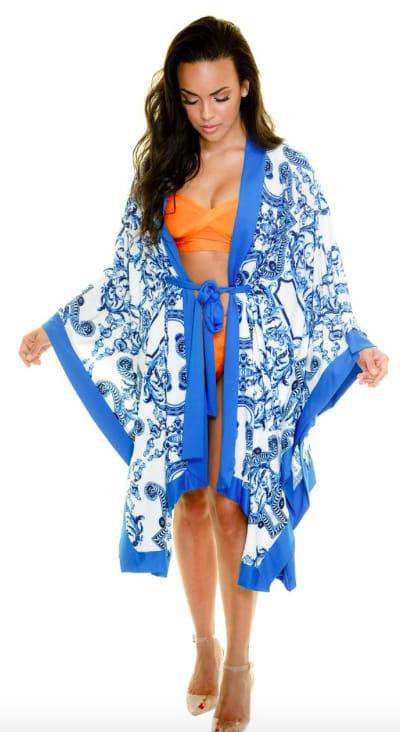 Blue Scroll Swimwear Kimono - Blue - Front