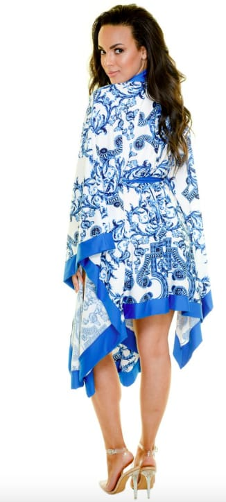 Blue Scroll Swimwear Kimono - Blue - Back