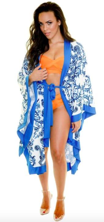 Blue Scroll Swimwear Kimono - Blue - Detail