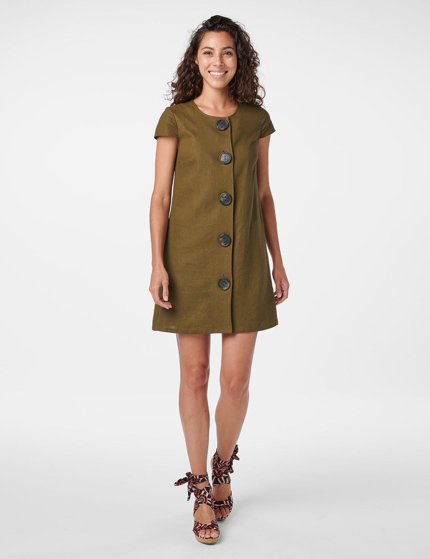 Big Button Linen Dress - Olive - Front