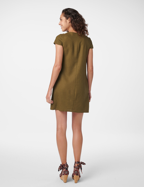 Big Button Linen Dress - Olive - Back