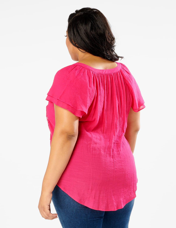 Crochet Trim Flutter Sleeve Woven Top - Fuschia - Back