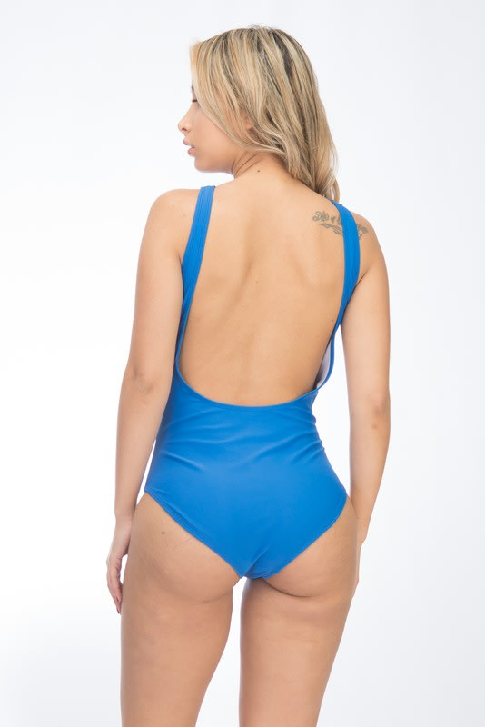 One Piece Halter Neck Mesh Peekaboo Swimsuit - Royal - Back