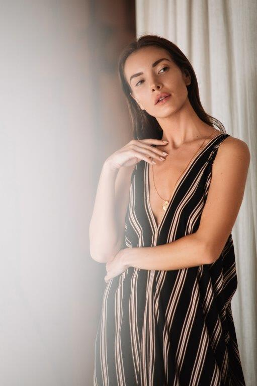 Striped Loose Dress - Black stripe - Detail