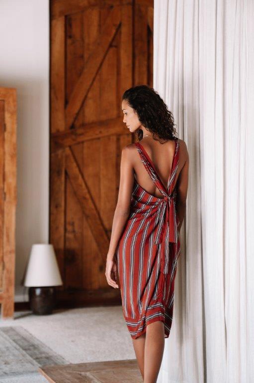 Striped Loose Dress - Red stripe - Back