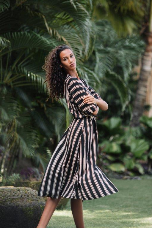 Kaftan Striped Dress - Black stripe - Back