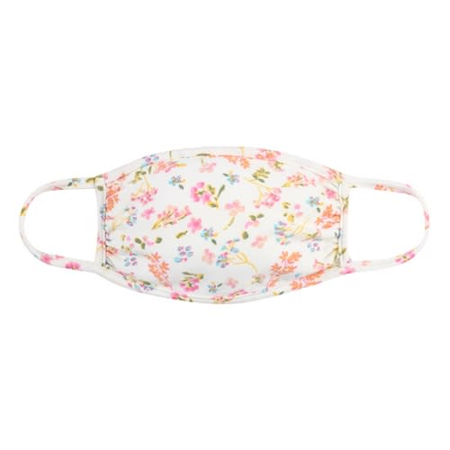 Floral Pastel Ditsy Fashion Face Mask - Ivory/Pink - Front