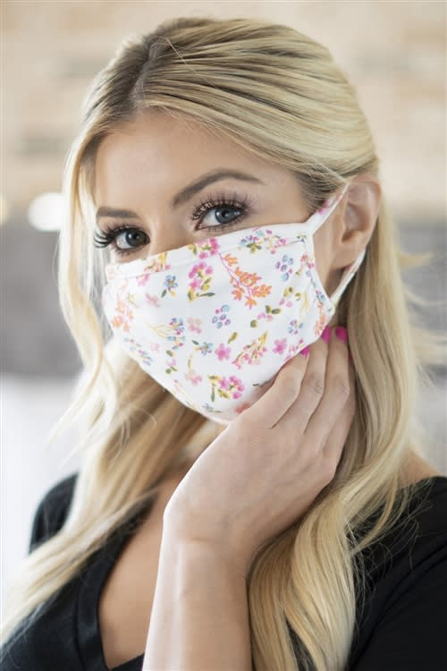 Floral Pastel Ditsy Fashion Face Mask - Ivory/Pink - Detail