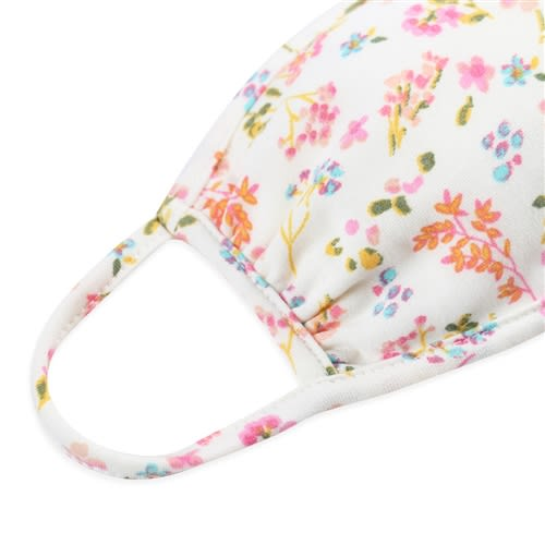 Floral Pastel Ditsy Fashion Face Mask - Ivory/Pink - Back