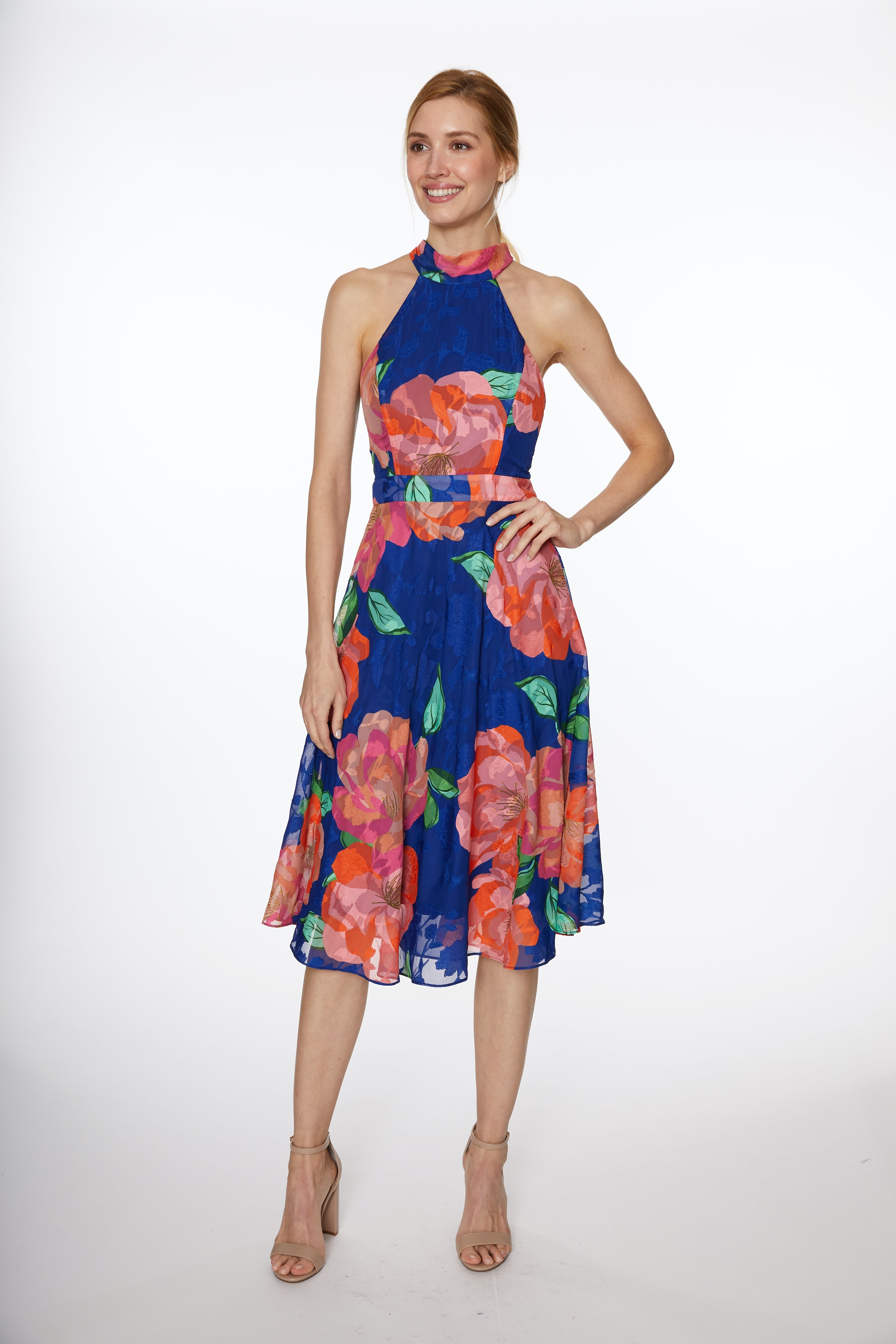 Floral Fit & Flare Dress - Blue Multi - Front