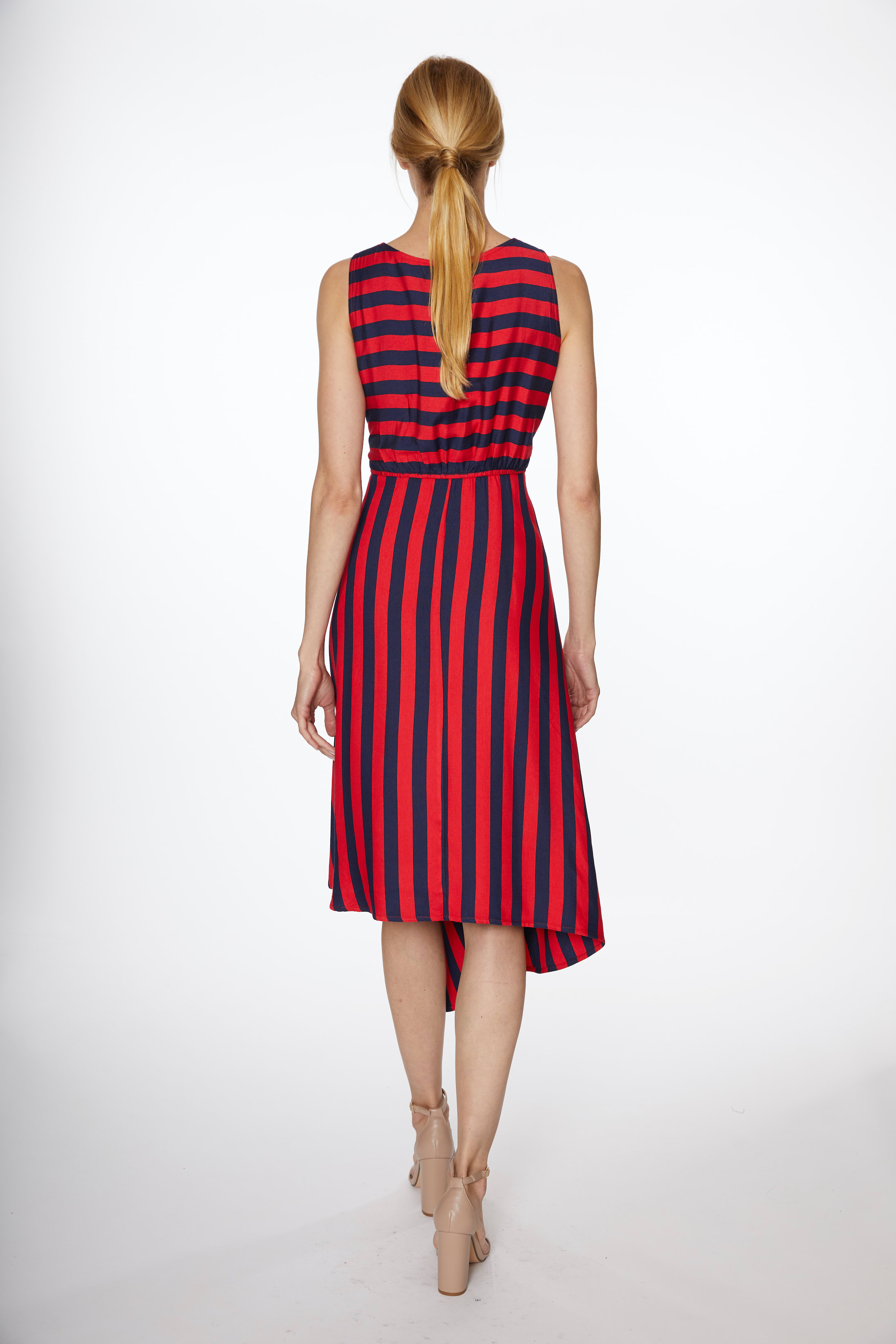 Asymmetrical Stripe Drawstring Dress - Navy/Red - Back