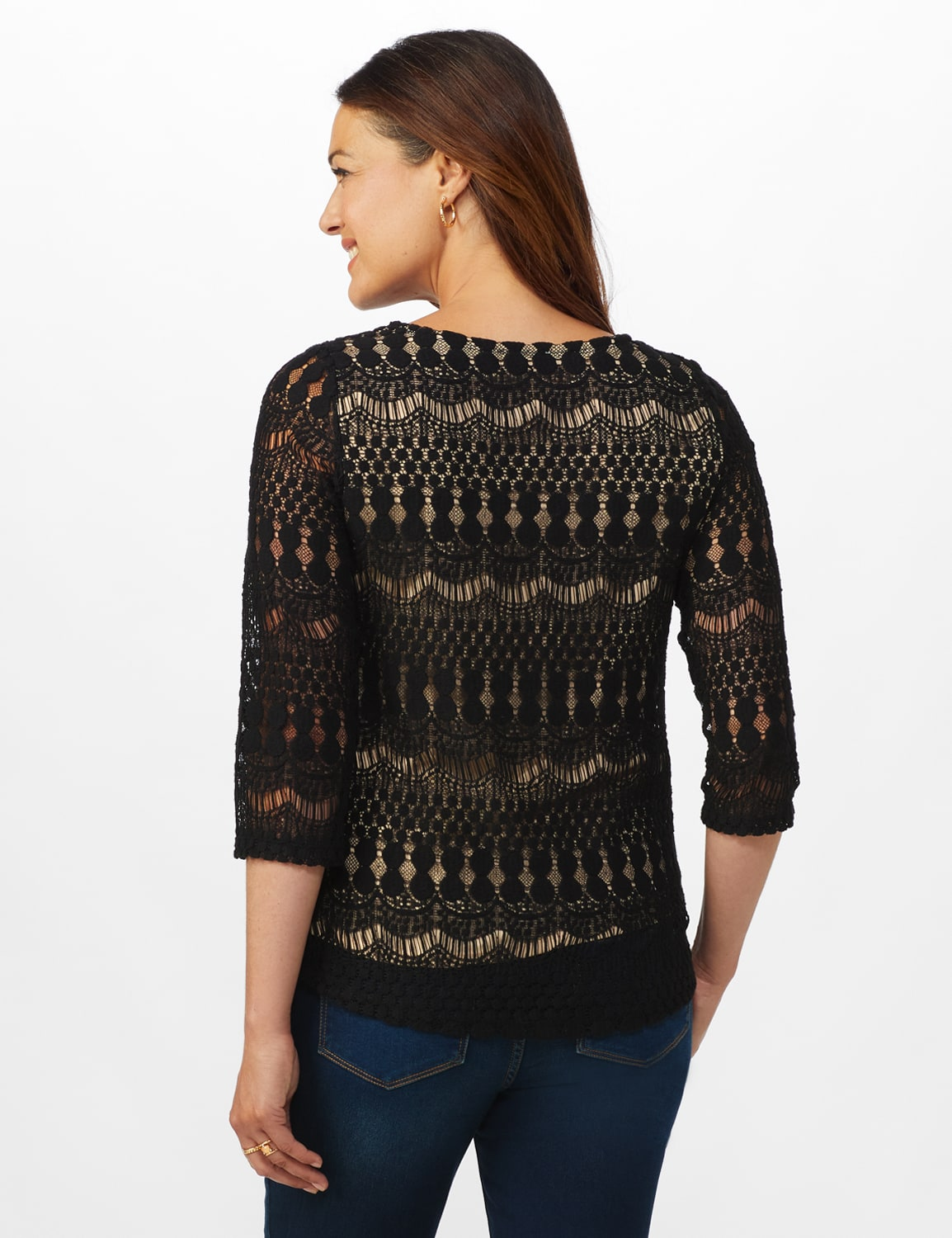 Lined Lace Knit Top - Black/Nude - Back