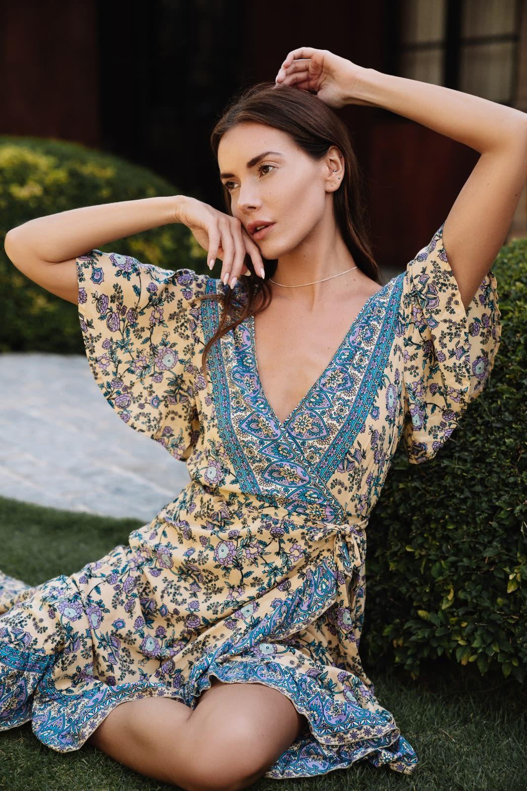 Dahlia Print Wrap Dress - Blue / White - Front