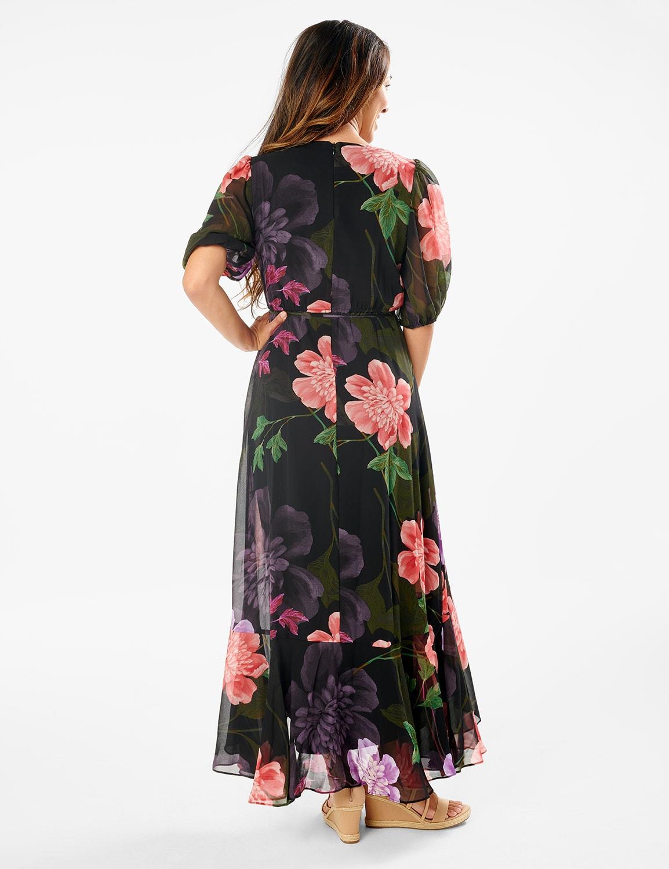 Large Floral Ruffle Dress - Misses - black/lilac - Back