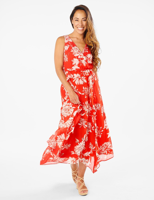 Side Ruffle Dress - Poppy/ivory - Front