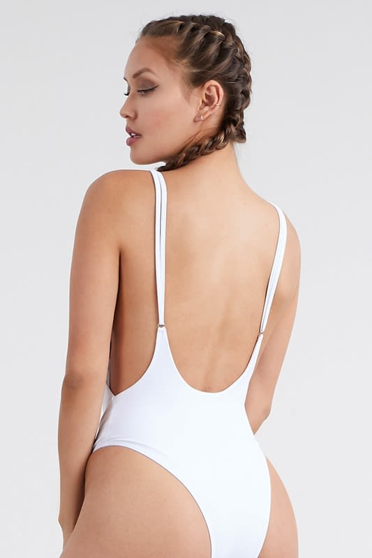 Classic One Piece Swimsuit - White - Back