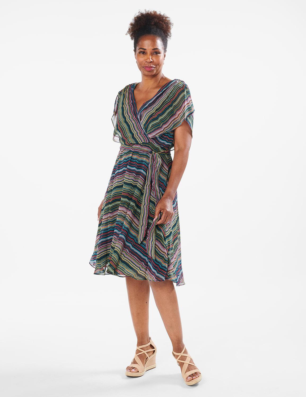 Wavy Stripe Chiffon Dress - Mallard Multi - Front