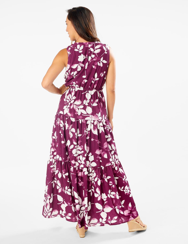 Leaf Print Tiered Maxi Dress - Pickled Beet/Ivory - Back