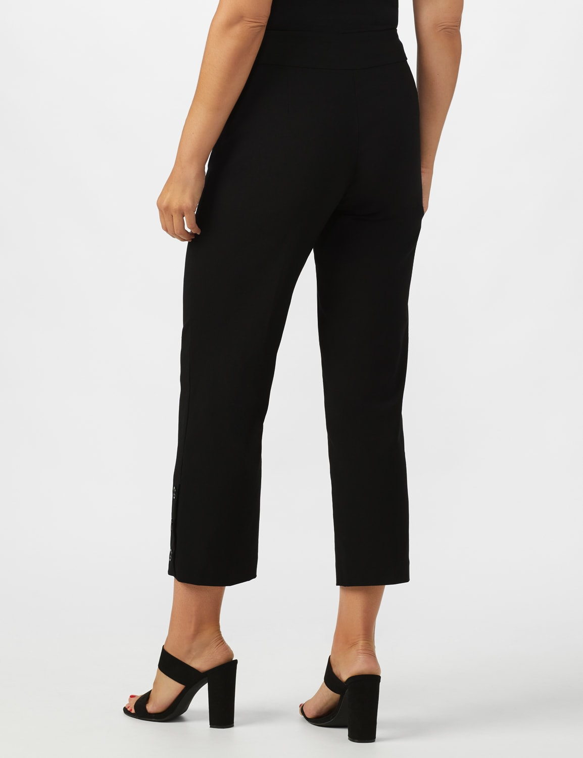 Superstretch Ankle Pants with Button Detail at the Hem - Black - Back