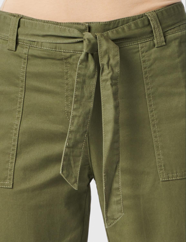 Garment Washed Twill Rolled Hem Tie Waist Pants - Olive - Detail