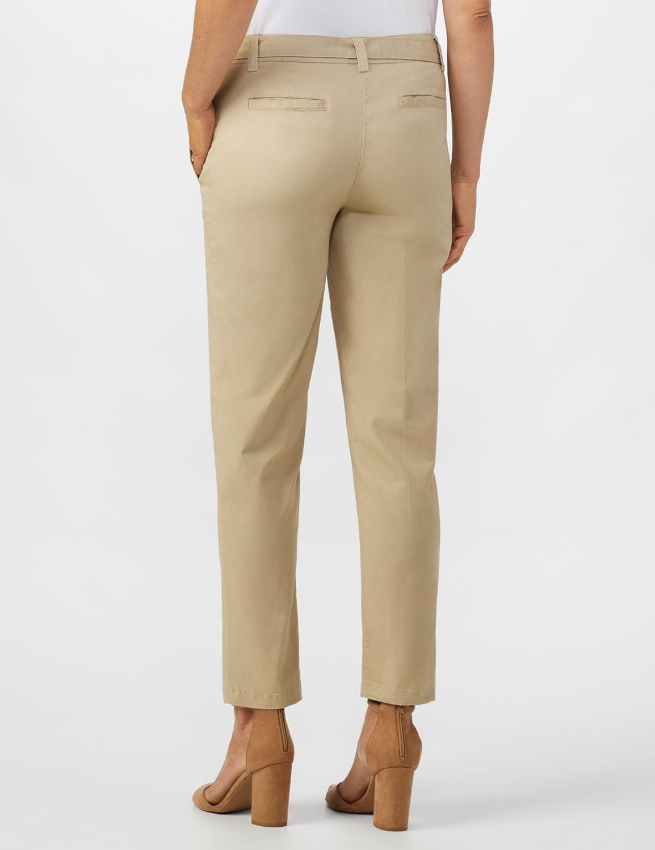 Garment Washed Twill Rolled Hem Tie Waist Pants - Tan - Back
