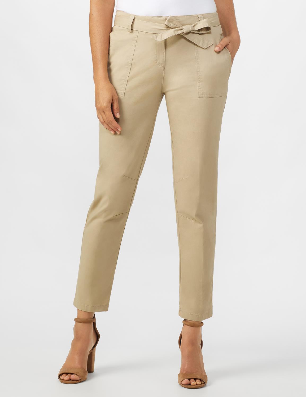 Garment Washed Twill Rolled Hem Tie Waist Pants - Tan - Front