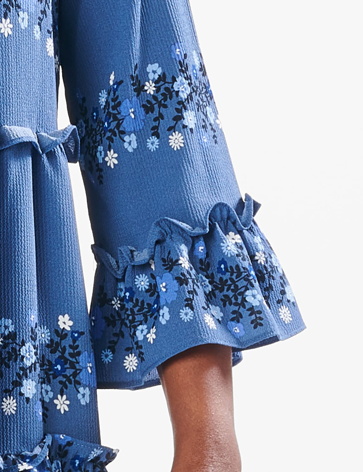 Ditsy Floral Baby Doll Dress - Denim Blue - Detail