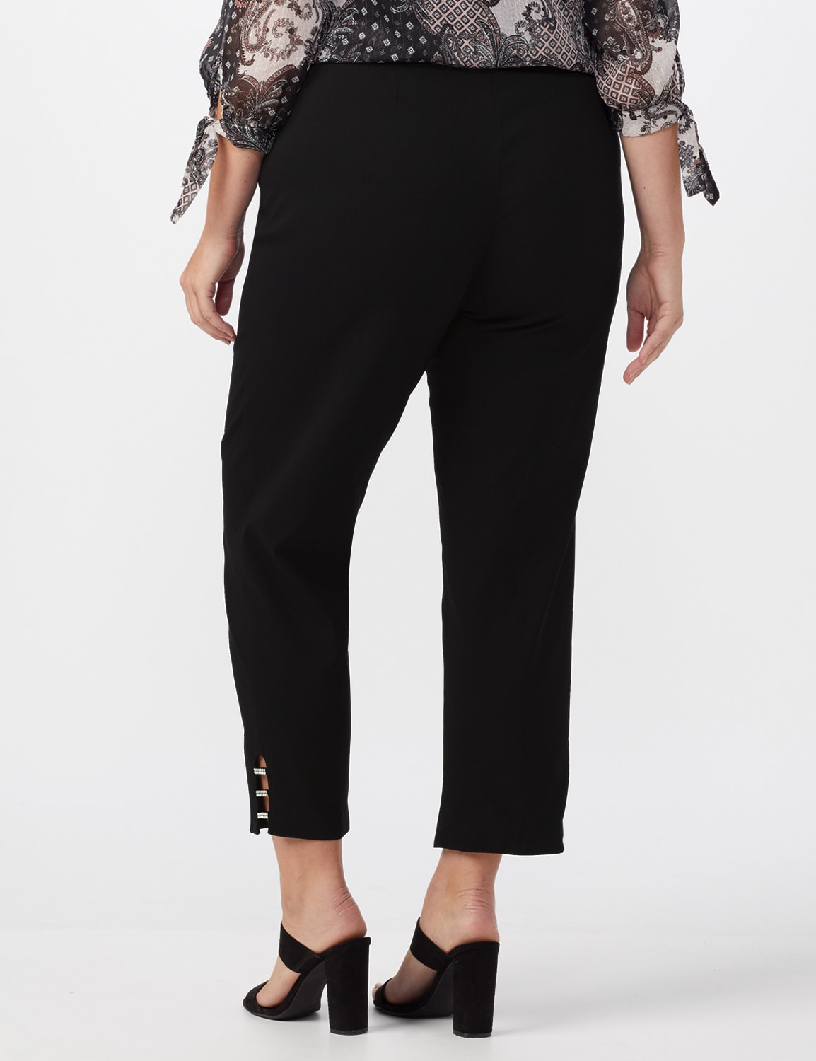 Pull On Crop Ankle Pants with Novelty Rhinestone Trim at Hem - Black - Back